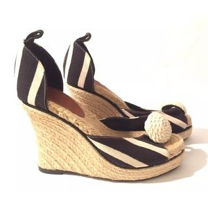 Kate Spade Striped wedges